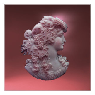 ANTIQUE CAMEO,LADY WITH GRAPES AND GRAPEVINES POSTER