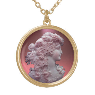ANTIQUE CAMEO, LADY WITH GRAPES AND GRAPEVINES ROUND PENDANT NECKLACE