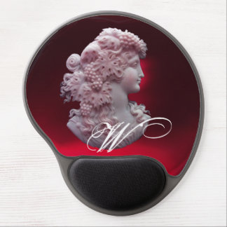 ANTIQUE CAMEO,LADY WITH GRAPES MONOGRAM GEL MOUSE PAD