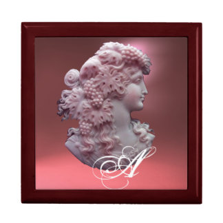 ANTIQUE CAMEO,LADY WITH GRAPES MONOGRAM GIFT BOX