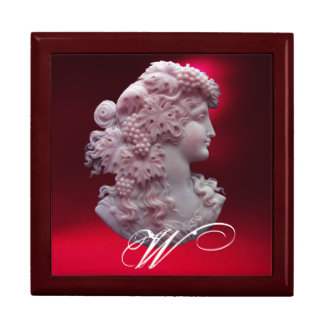 ANTIQUE CAMEO,LADY WITH GRAPES MONOGRAM KEEPSAKE BOX