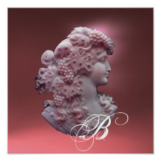ANTIQUE CAMEO,LADY WITH GRAPES MONOGRAM POSTER