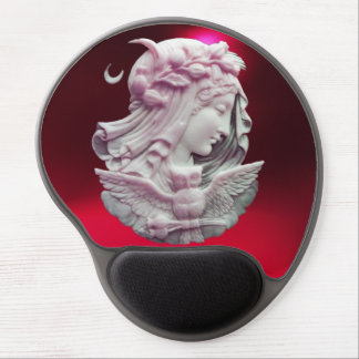 ANTIQUE CAMEO,MOON LADY OF NIGHT WITH OWL GEL MOUSE PAD