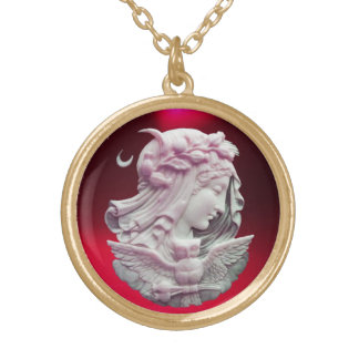 ANTIQUE CAMEO, MOON LADY OF NIGHT WITH OWL GOLD PLATED NECKLACE
