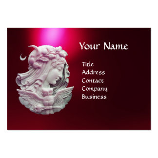 ANTIQUE CAMEO,MOON LADY OF NIGHT WITH OWL LARGE BUSINESS CARD