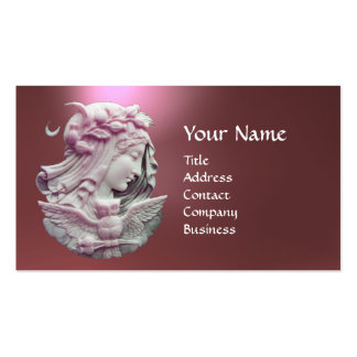 ANTIQUE CAMEO,MOON LADY OF NIGHT WITH OWL MONOGRAM BUSINESS CARD