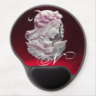 ANTIQUE CAMEO,MOON LADY OF NIGHT WITH OWL MONOGRAM GEL MOUSE PAD