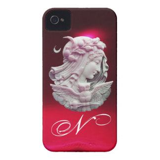 ANTIQUE CAMEO,MOON LADY OF NIGHT WITH OWL MONOGRAM iPhone 4 COVER