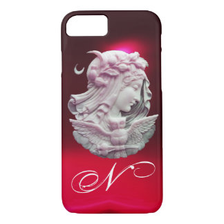 ANTIQUE CAMEO,MOON LADY OF NIGHT WITH OWL MONOGRAM iPhone 7 CASE