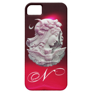 ANTIQUE CAMEO,MOON LADY OF NIGHT WITH OWL MONOGRAM iPhone SE/5/5s CASE