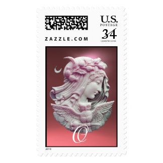 ANTIQUE CAMEO,MOON LADY OF NIGHT WITH OWL MONOGRAM POSTAGE
