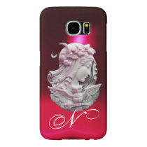 ANTIQUE CAMEO,MOON LADY OF NIGHT WITH OWL MONOGRAM SAMSUNG GALAXY S6 CASE