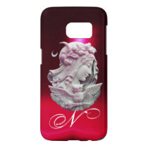 ANTIQUE CAMEO,MOON LADY OF NIGHT WITH OWL MONOGRAM SAMSUNG GALAXY S7 CASE