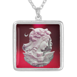 ANTIQUE CAMEO, MOON LADY OF NIGHT WITH OWL SILVER PLATED NECKLACE
