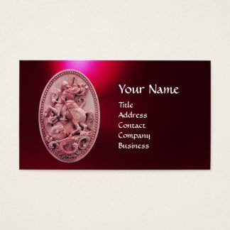 ANTIQUE CAMEO / SAINT GEORGE WITH DRAGON MONOGRAM BUSINESS CARD