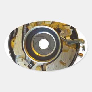 Antique Camera Lens Shutter Oval Sticker
