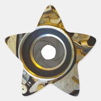 Antique Camera Lens Shutter Star Sticker