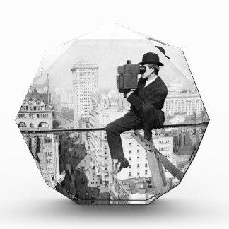 antique camera on a city highrise vintage photo award
