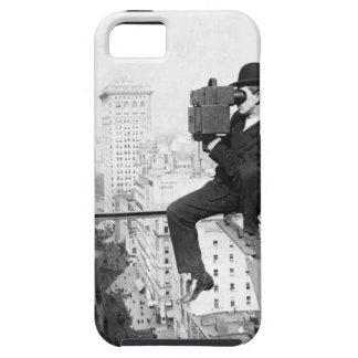 antique camera on a city highrise vintage photo iPhone SE/5/5s case