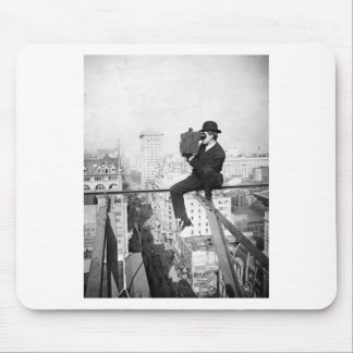 antique camera on a city highrise vintage photo mouse pad