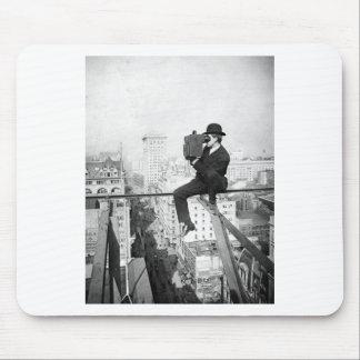 antique camera on a city highrise vintage photo mousepads
