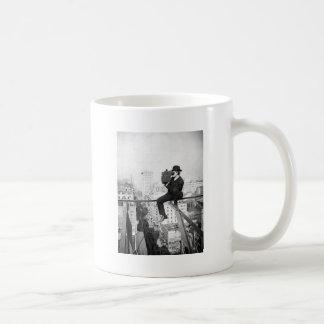 antique camera on a city highrise vintage photo classic white coffee mug