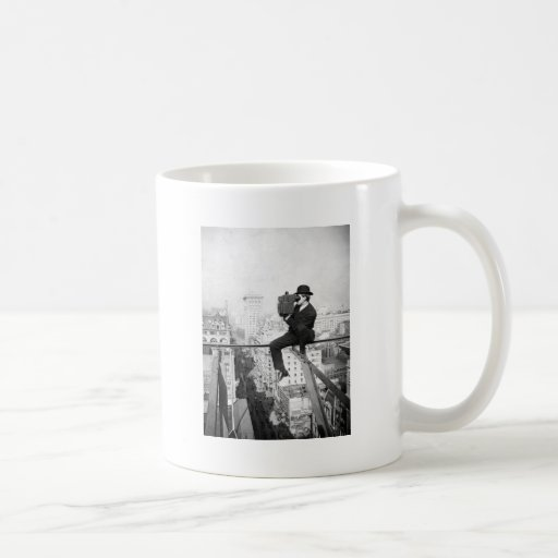 antique camera on a city highrise vintage photo coffee mugs