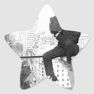 antique camera on a city highrise vintage photo star sticker