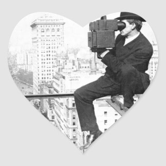 antique camera on a city highrise vintage photo heart sticker