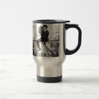antique camera on a city highrise vintage photo travel mug