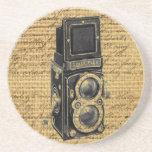 antique camera on burlap background coaster