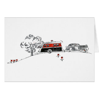 Antique Camper and Car Card