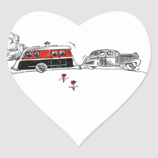 Antique Camper and Car Heart Sticker