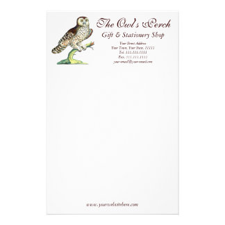 Antique Canadian Owl Print Customizable Stationery