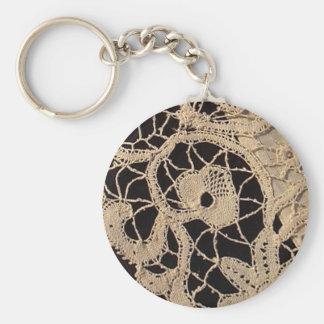 Antique Cantu Italian Lace Basic Round Button Keychain