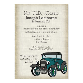 Antique Car and Burlap Vintage Birthday Card