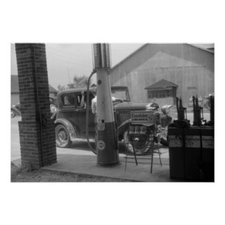 Antique Car and Visible Gas Pump 1940s Poster