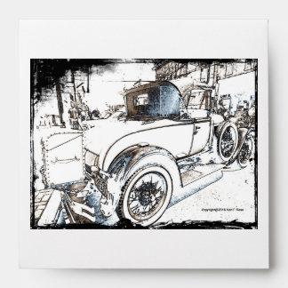Antique car as a sketch envelopes