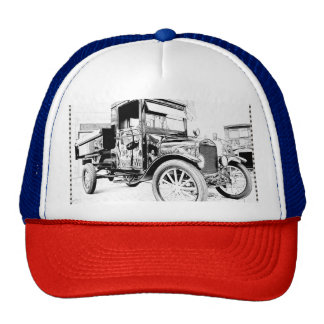 Antique car as a sketch trucker hat