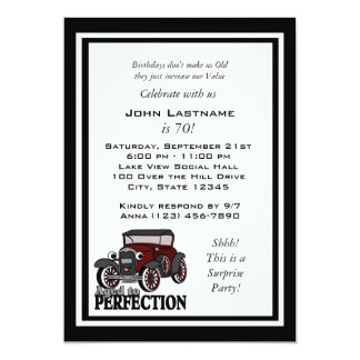 "Antique Car Birthday Invite 5"" X 7"" Invitation Card"