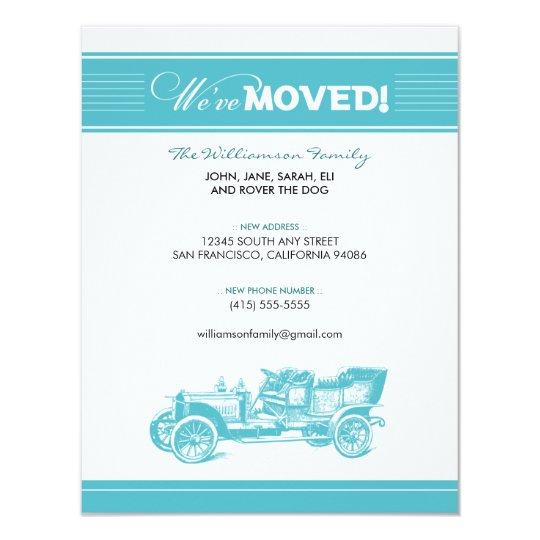Antique Car Family Moving Announcement (aqua)