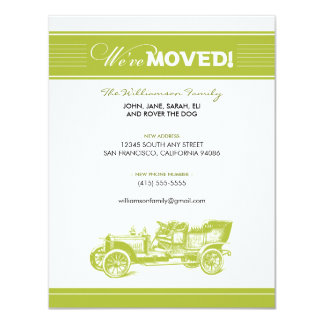 Antique Car Family Moving Announcement (lime)