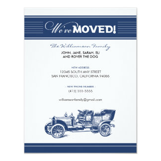 Antique Car Family Moving Announcement (navy)