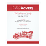"""Antique Car Family Moving Announcement (red) 4.25"""" X 5.5"""" Invitation Card"""