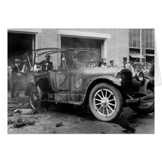 Antique Car Fire, 1921 Card