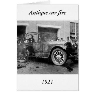 Antique Car Fire, 1921 Greeting Card