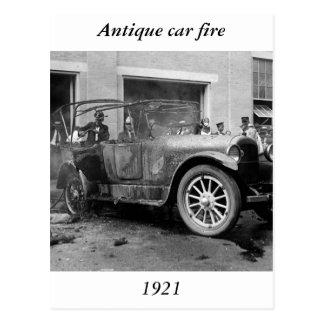 Antique Car Fire, 1921 Postcard