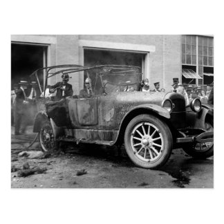 Antique Car Fire, 1921 Postcard