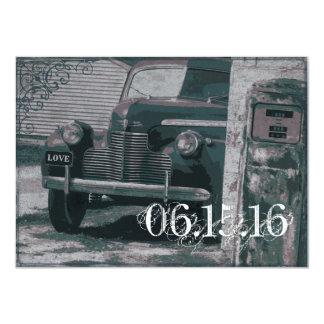 Antique Car Gas Pump Vintage Wedding Invitations