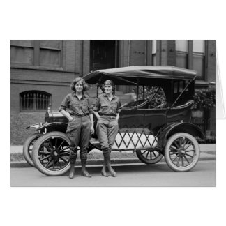 Antique Car Girls, 1920s Greeting Card